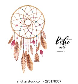 Watercolors, Drawings, Dreamcatcher, boho.