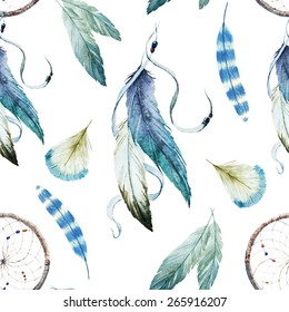 Watercolors, Drawings, Dreamcatcher, ethnic, feathers, pattern, wallpaper, background