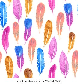 Watercolors Feather Pattern