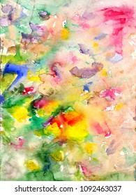 Watercolors stains and flowing paints - hand drawn