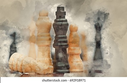 Watercolour painting of Application of chess strategy and tactics into business field concept