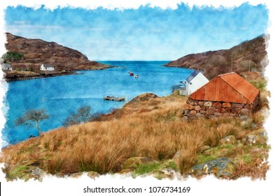 Watercolour painting of Ardheslaig a small village on the shores of Loch Torridon at the northern end of the Applecross peninsula in the Scottish Highlands.