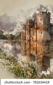 Watercolour painting of Beautiful medieval castle and moat at sunrise with mist over moat and sunlight behind castle