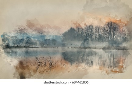 Watercolour painting of Beautiful tranquil landscape of lake in mist