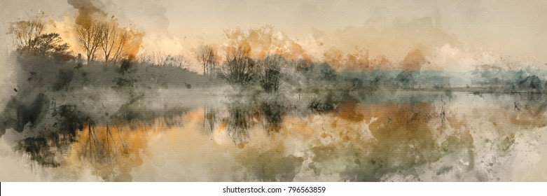 Watercolour painting of Beautiful tranquil panorama landscape of lake in mist