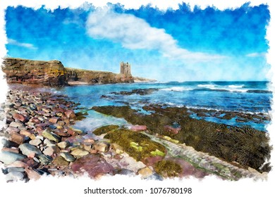 WAtercolour painting of blue skies over the ruins of Keiss Castle perched precariously on cliffs at Caithness on the north east coast of Scotland
