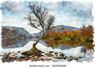Watercolour painting of dusk at Llyn Padarn in Snowdonia National Park in Wales