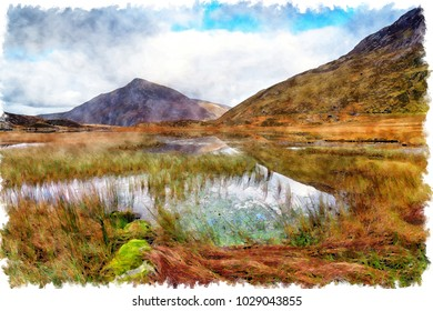 Watercolour painting of Llyn Idwal lake in the Glyderau Mountains in Snowdonia National park in Wales