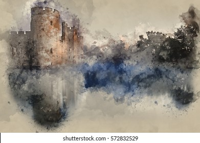 Watercolour painting of medieval castle and moat during misty sunrise