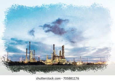 Watercolour Painting of  Night scene power plant.