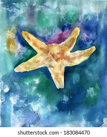 Watercolour painting of a sea star