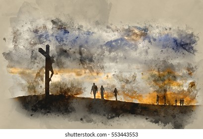 Watercolour painting of Silhouette of Jesus Christ crucifixion on cross on Good Friday Easter witth people walking up hill towards Jesus