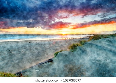 Watercolour painting of a stormy sunset over the beach at West Wittering on the Sussex coast