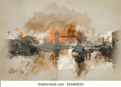 Watercolour painting of Stunning Autumn Fall sunrise over Tower Bridge and River Thames in London.