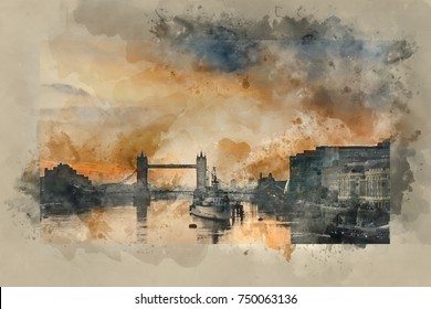 Watercolour painting of Stunning Autumn sunrise over River Thames and Tower Bridge in London