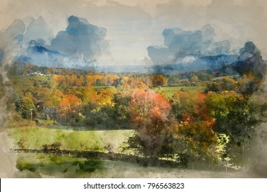 Watercolour painting of Stunning foggy Autumn Fall sunrise landscape image over countryside in Lake District in England