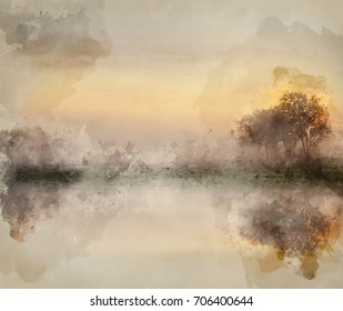 Watercolour painting of Stunning foggyAutumn  sunrise English countryside landscape image