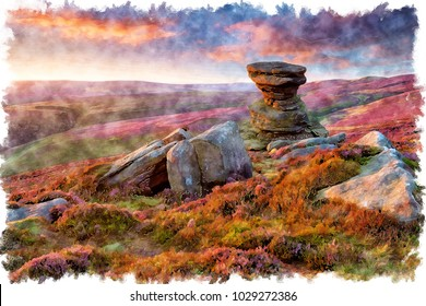 Watercolour painting of a stunning sunset over the Slat Cellar a weathered rock formation on Derwent Edge high above teh Ladybower Reservoir in the Upper Derwent Valley in the Derbyshire Peak District