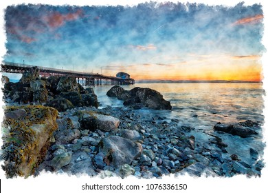 Watercolour painting of sunrise over Mumbles Pier near Swansea on the Welsh coast