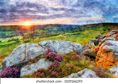 Watercolour painting of sunset from Baslow Edge in the Derbyshire Peak District, looking out to Curbar village with Curbar Edge in the far right