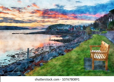 Watercolour painting of sunset over the fishing village of Shieldaig near Applecross on the NC500 tourist route in Scotland