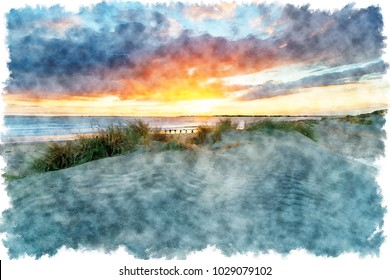 Watercolour painting of sunset over sand dunes on the beach at West Wittering on the Sussex coast