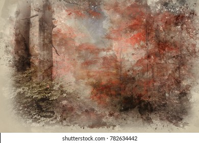 Watercolour painting of Surreal alternate color fantasy Autumn Fall forest landscape conceptual image