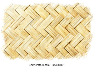 Watercolour Painting of Thai Style Bamboo texture background.