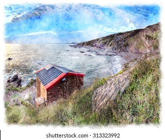Watercolour painting of wooden hut on cliffs