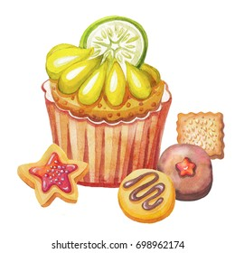 Watercolour sweet pastries.