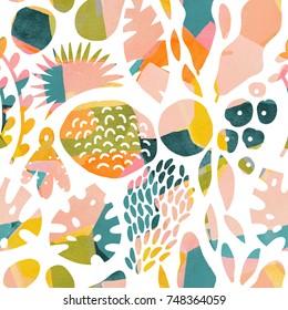Watercolour tropical modern seamless pattern