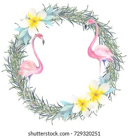 Watercolour wreath with tropic leaves and pink flamingo.Hand drawn isolated illustration
