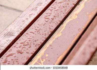 Waterdrops on a bench