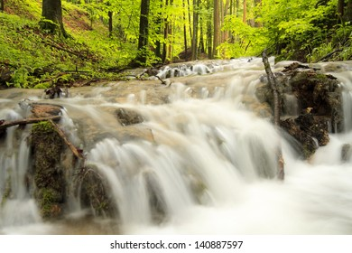 Waterfall after rain in a Forest