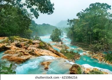 Waterfall Agua Azul, Chiapas. Located in Mexico