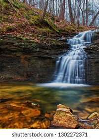 A waterfall along the Alum Hollow Trail on the Green Mountain Nature Preserve  in Huntsville, Alabama