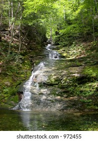 Waterfall along a hiking trail