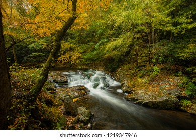 Waterfall along Little River Road in Smoky Mountains National Park Tennessee in Fall