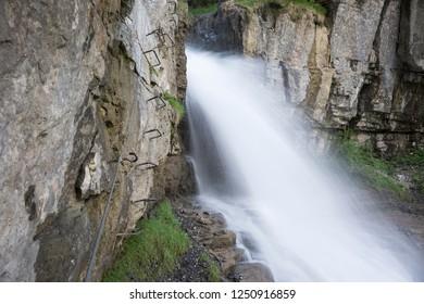 Waterfall along via Ferrata de Tiere (Champery, Switzerland)