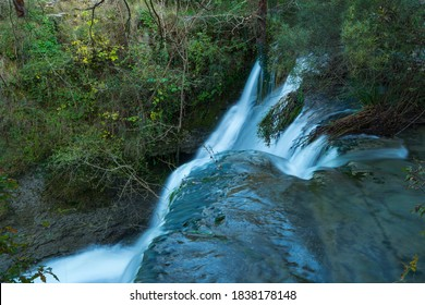 Peñalandros waterfall in the Angulo Valley within the Mena Valley municipality in the Merindades region of the province of Burgos in Castilla y Leon of Spain, Europe - Shutterstock ID 1838178148
