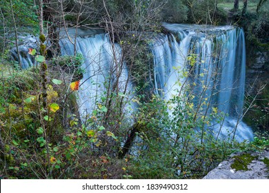 Peñalandros waterfall in the Angulo Valley within the Mena Valley municipality in the Merindades region of the province of Burgos in Castilla y Leon of Spain, Europe - Shutterstock ID 1839490312
