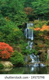 Waterfall and Autumn Foliage