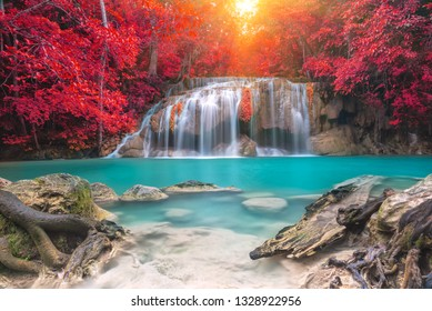 waterfall in autumn forest, Kanchanaburi province, Thailand
