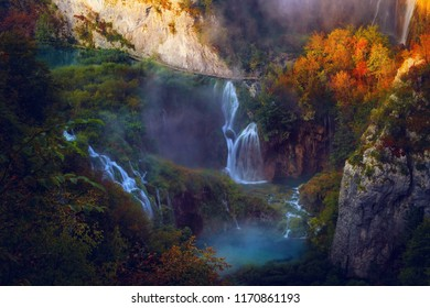 Waterfall in Autumn Plitvice Lakes National Park