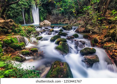 Waterfall Banias landscape. Water stream. Autumn at river Hermon. Nature Reserve and National park a popular place for tourist trips with locals and foreigners in the north of Israel.