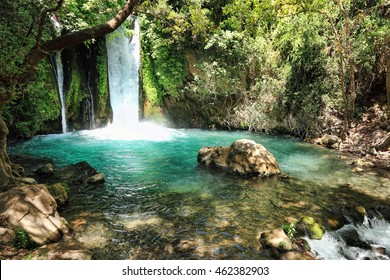 Waterfall Banias landscape. Water stream. Spring of river Hermon .Nature Reserve and National park a popular place for tourist trips with locals and foreigners in the north of Israel.