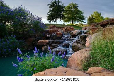 A waterfall in a beautiful Frisco, TX park.