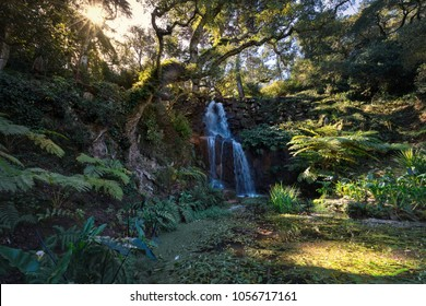 waterfall in a beautiful garden setting of Monserrate palace park