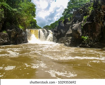 Waterfall at the beginning of the estuary of the Grand River South East on the island of Mauritius