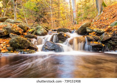Waterfall in Bezrucovo valley in Krusne mountains, Czech republic